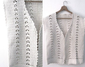Vintage 60s crochet vest / Handcrafted Bohemian Folk  vest /  Natural cotton crochet waistcoat vest top