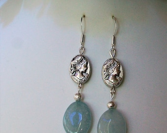 Pendant earrings with aquamarine and Silver Tibetan cameo, 50 mm
