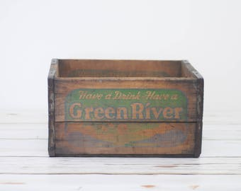 Wood Soda Pop Crate 1940s Green River Wood And Metal Soda Delivery Box