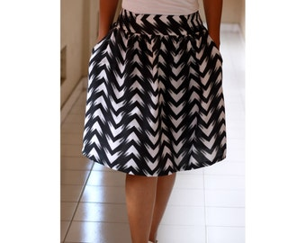 Black and White Chevron Skirt, Midi Skirt, Knee length skirt