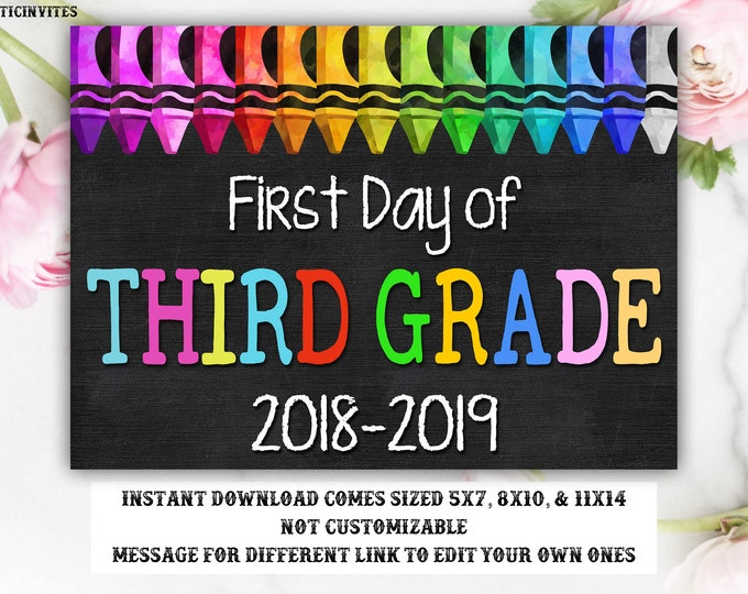 First Day of Third Grade Sign, Instant Download, First Day of School Chalkboard, Third, 3rd, First Day of School, Chalkboard Sign, DIY, 3rd