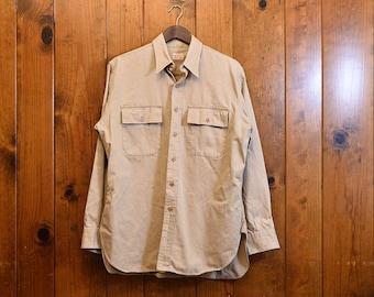 Day By Day Shirt, Made in USA - 1960's, Khaki/Beige Large Button Work Shirt, Sanforized Workwear