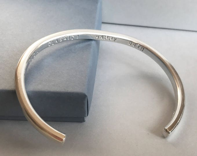 Mens heavy personalised bangle in sterling silver