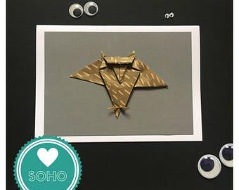 Origami Blank Greetings Card - Owl