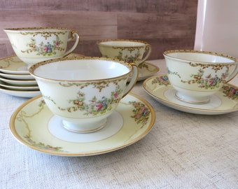 Vintage Meito Chine tasses et soucoupes, tasses de porcelaine Vintage, VIntage soucoupes, Meito Chine N1065A, Meito Vintage Chine - V331