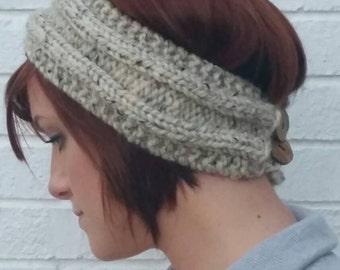 Beige Knit Ear Warmer/Headband