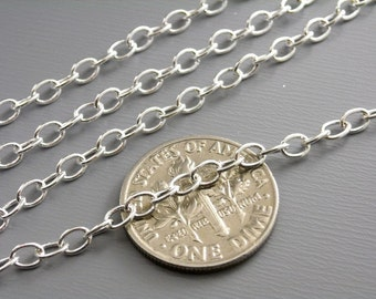 CHAIN-SILVER-4MMx3MM2 - Grade A 10-Foot 4mm x 3mm Silver Plated Cable Chain