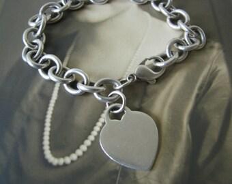Vintage Blue Nile Solid Sterling Silver Heart Charm Bracelet 925 Sterling 35.5 grams