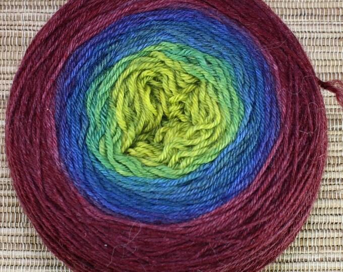 Hand dyed yarn - Ombre - 100g superwash merino/nylon, sock weight (4 ply) in 'Aurora'.