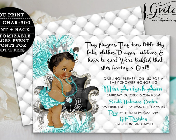 """Breakfast BABY SHOWER African American invitations, blue and silver, diamonds pearls, princess blue and silver, double sided, 7x5"""". Gvites"""