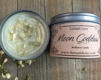MOON GODDESS Meditation Candle //Tin Candle // Spell Candle // Ritual Candle // Moon // Lunar Energy // Witchcraft // Magick