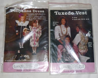 2 Vintage 1980s Gooseberry Hill Patterns - Tuxedo Vest and Pollyanna Dress Uncut & Unused