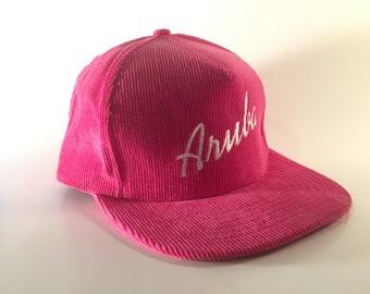 80s Pink Corduroy ARUBA Snapback - Never Worn