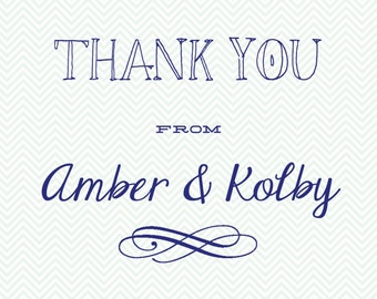 Mint and Navy Thank You Notecards