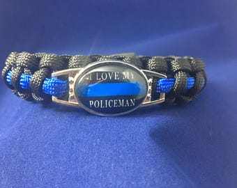 I Love My Policeman Paracord Bracelet LEOW LEO Police PoliceWife Law Enforcement Thin Blue Line Girlfriend Cop