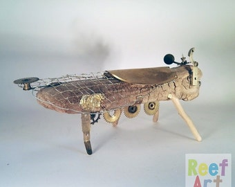Gold Dry-fly II, Steampunk, Insect art, Organic art