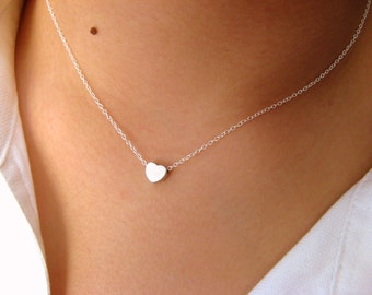 Charm necklaces etsy dainty heart necklace little sterling silver necklace with tiny heart matt rhodium plated sterling silver necklace heart necklace aloadofball Images