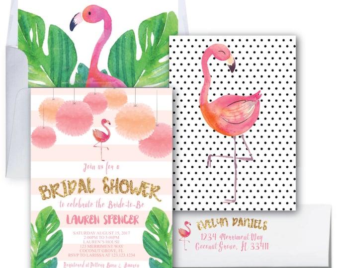 Flamingo Bridal Shower Invitation // Let's Flamingle Invitation // Gold Glitter / Bridal Shower // Watercolor / COCONUT GROVE COLLECTION