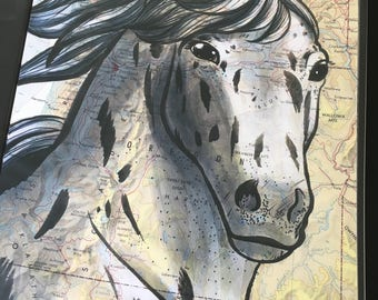 Appaloosa Horse Poster, 11x17 inches, Horses of the World, Repurposed Map, Northwestern U.S.A.