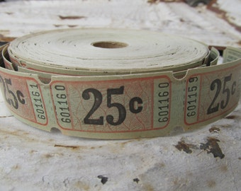 12 Vintage 25 Cent Carnival Raffle Tickets for altered art mixed media
