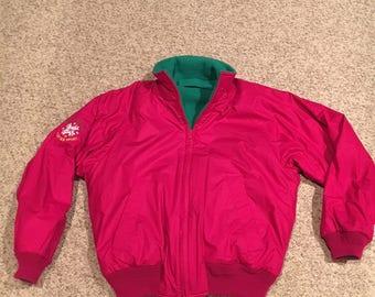 Vintage Nautica Bright Magenta Pink Winter Sport Competition Jacket with Kelly Green Fleece Inside Warm ski snow Jacket Size Medium 3DrF4uX