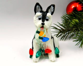 Siberian Husky Black Christmas Ornament Figurine Porcelain