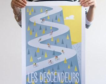 Large Cycling Print, DESCENDERS, Tour de France