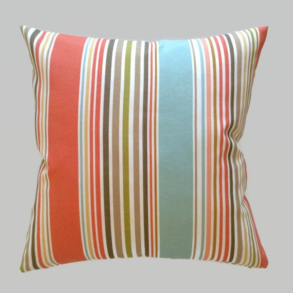 Coastal Pillows Coral Blue Brown Stripe Indoor Outdoor Throw