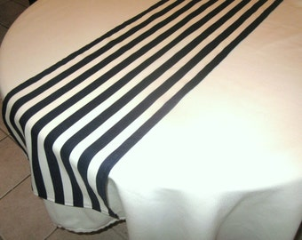 Navy And White Stripe Table Runner, Wedding Table, Bridal Shower, Nautical,  Baby