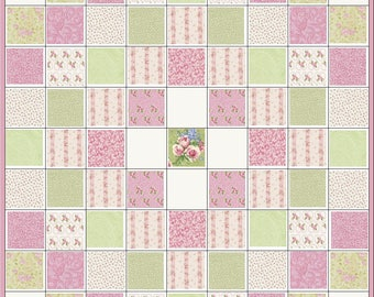 Take Time to Smell the Roses~Shabby Chic~Precut Quilt Kit~Fabric~Pink & Green~QK#122