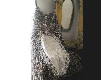 Grey Skies Dress, Recycled, Frills, beading, Antique Lace, Silver, White, Pretty, Flapper, Boho