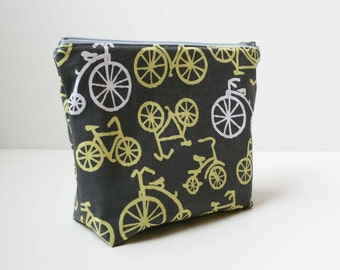 Zipper Pouch Cosmetic Bag - Gray Yellow Bikes - READY TO SHIP