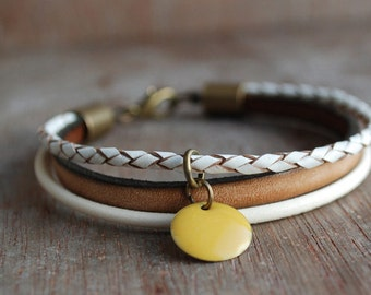 Honeycomb . Braided Leather Bracelet / Eco Friendly Leather  / Bohemian Stacking Layering Bracelet