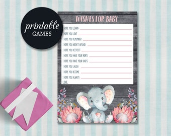 Wishes for baby Girl Elephant Baby Shower Games Printable, Elephant Wishes for baby, Baby Shower Wishes, Elephant Baby Shower Games Girl