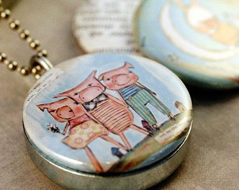 Nursery Rhyme Jewelry, Nursery Rhymes Locket Necklace, Three Little Pigs Jewelry, Locket for Young Girl, Upcycled Polarity, Pbsartstudio Art