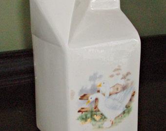 Vintage Ceramic Milk Carton Server