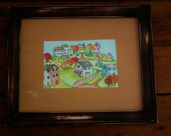 Village in the hills  original framed watercolor painting