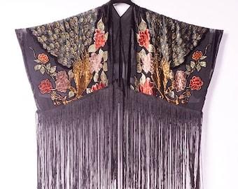 Blck Kimono Fringe Kimono Boho Kimono Cardigan