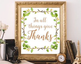 Give Thanks Art Print, Thanksgiving Printable Art, Autumn Decor, Fall Art Print, Instant Download