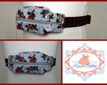 Roses and love scrolls on grey insulin pump belt with red and black elastic.  Size 2.