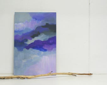 Moods shades abstract painting on small wooden panel - original - violet purple grey black - small panel - flexible decoration