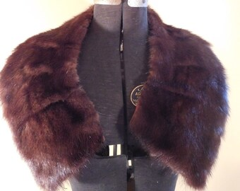 Vintage Fur Collar Chocolate Brown Mink Collar
