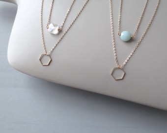 Ohq - One Two Tier Hexagon Necklace; Geometric Tiny Geo Necklace; Amazonite, Citrine, Purple or Smoky Quartz; Bridesmaid Gift by InfinEight
