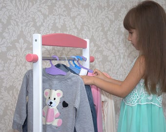 Kids Clothing Rack, Children's Clothing Rack, Wood Clothing Rack, Wooden Clothes Rack, Mini Kids Clothes Rack, Dress Up Storage Rack