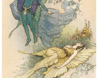 Hand-cut wooden jigsaw puzzle. SLEEPING FAIRY & PRINCE. Warwick Goble. Fairytale gift. Wood, collectible. Bella Puzzles.