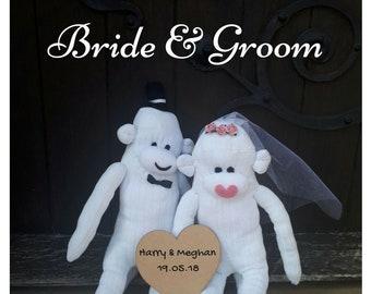 Personalised Bride & Groom Sock Monkey Couple -(Groom+Groom/Bride+Bride also available)