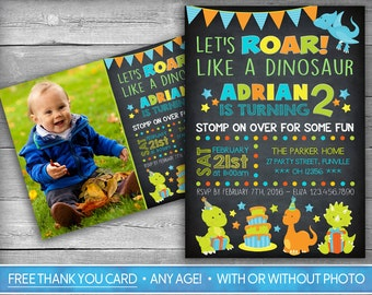 Dinosaur Invitation | Dinosaur Invite | First Birthday Invitation | Birthday Invite | Boy Invitation | Chalkboard Invite - Dinosaur Birthday