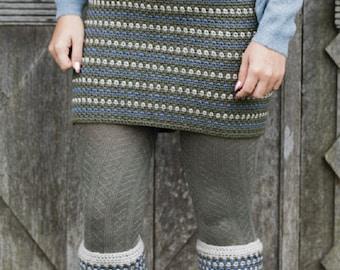 Tweedie Skirt & Boot Cuffs Crochet Pattern only Woolly5 Yarn