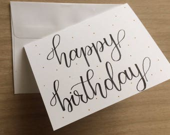 5 pack hand lettered Happy Birthday cards 4.25x5.5 in