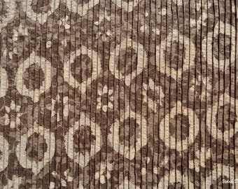 Brown Pintuck Fabric Block Print Vegetable Fabric Indian Cotton Fabric by the yard